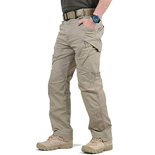 LELEBEAR 2021 Upgraded Tactical Waterproof Pants, Mens Waterproof Hiking Tactical Trousers for Combat Outdoor Hiking (Kakki, Large)