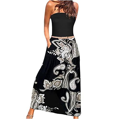 yudjzgt Vestido de verano largo para mujer, estilo bandeau, elegante, con hombros descubiertos, estilo bohemio, espalda descubierta, con flores, vestido largo para el tiempo libre Blanco S