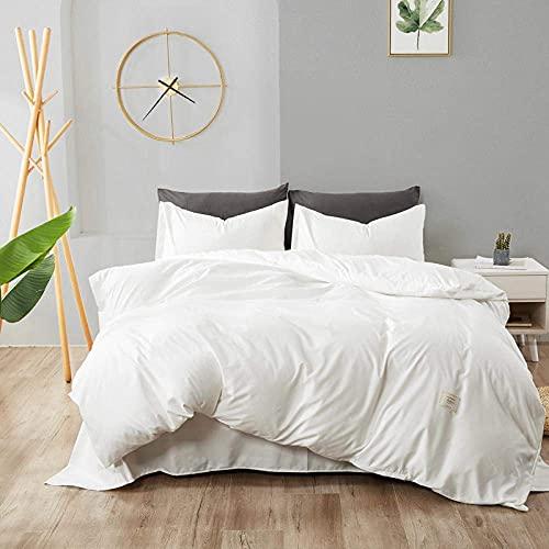 Decoración para el hogar Juego de funda nórdica de algodón lavado de cuatro piezas Funda de edredón de sábana de estilo nórdico Juego de ropa de cama suave de color sólido con cierre de botone