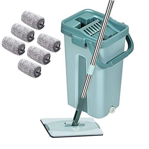 YNC Touchless Mop, Mop Eimer System 360° Bodenwischer Set mit Eimer, Mopp, 6 Lappen zum Auswringen ohne Bücken Wischmopp für einfache Reinigung und saubere Hände 2,7 L Wischeime (Rechteck)