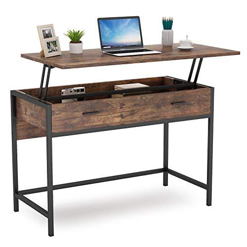 Tribesigns Computertisch, höhenverstellbarer PC/Laptop-Schreibtisch mit großem Staufach, Schreibtisch für Home Office, 107 x 50 x 79 + (23,5 cm), Vintage, braun und schwarz