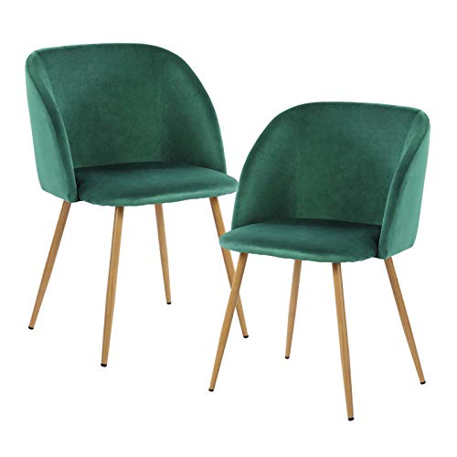 EGGREE Set di 2 Sedie da Pranzo in Velluto Vintage Poltrona Scandinave,Seduta e Schienale Imbottiti,Gambe in Metallo Stile Legno,Verde Scuro