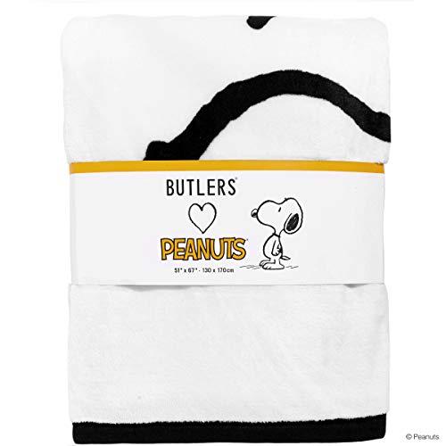 Butlers Peanuts Flanell Decke 130x170 Snoopy - Weiche Kuscheldecke - Weiß-Schwarze Plüschdecke mit Snoopy-Motiv
