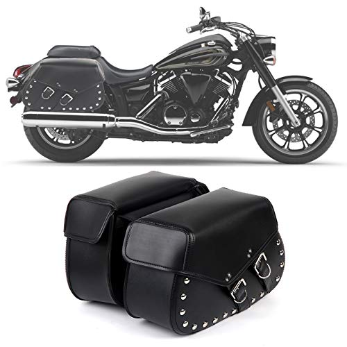 2PC Heavy-duty Waterproof Motorcycle Saddlebags 2-Strap - Extra-Large PVC Synthetic Leather Insulated Throw-Over Saddlebag Tool Bag | Side Bag | Handlebar Bag | w/Quick Release Buckles