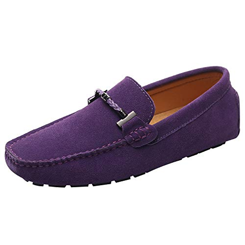 ANUFER Mens Elegant Buckle Loafers Comfort Suede Driving Shoes Stylish Moccasin Slippers Purple SN19020 US11