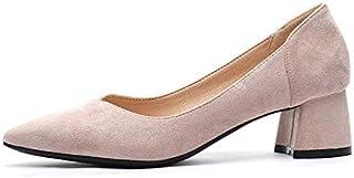 [GoldFlame-JP] ポインテッドトゥ パンプス レディース 太ヒール 痛くない ローヒール 走れるパンプス 履きやすい 歩きやすい フラットシューズ スエード シンプル 小さいサイズ ブラック ピンク ベージュ