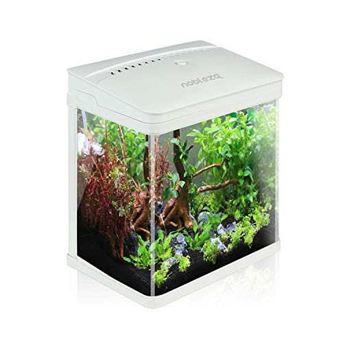 Nobleza-Nano-Fischtank-AquariummitLED-Leuchten&Filtersystem,tropischeAquarien, 7Liter,Weiß