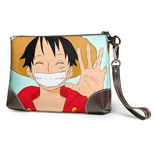 Anime One Piece Monkey D. Luffy Cuero Bolso de Embrague Cuero Cuero Cinturón Ranura de la Tarjeta Cartera de Moda Desmontable Correa de Hombro Bolsas de Mensajero Teléfono Inteligente Señoras