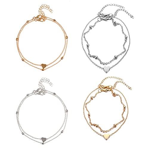 Jsdufs 4 Pieces Anklet Bracelet Heart Chain Friendship Bracelet Adjustable Anklet Copper Alloy Bracelet Arm Chain Anklet For Women Girls