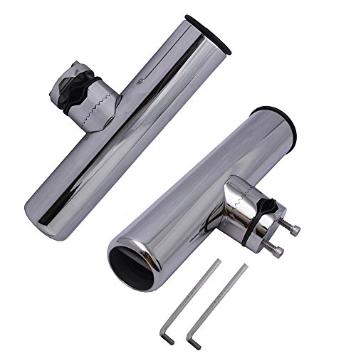 2PCS FISHING ROD HOLDER - 9' Clamp On 360 Degree Adjustable Fishing Rod Holder - Clamp to Fit 7/8' to 1' Tube with Pin(welded at base),Small Wrench Included