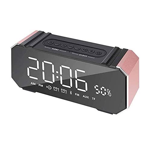 ZOUSHUAIDEDIAN Reloj de Alarma Digital, Altavoz Bluetooth portátil, Pantalla LED duplicada, Doble Reloj de Alarma, Cargador USB, Reloj Despertador para Dormitorios Oficina (Color : Pink)