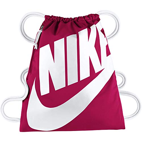 Nike Heritage Gymsack, Drawstring Backpack and Gym Bag with cinch sack closure and straps for comfort, Rush Pink/White/White