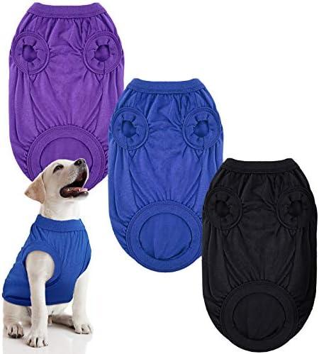 3 Pieces Dog Shirt Cotton Pet T Shirt Soft Dog Vest Breathable Pet Sweatshirt Solid Color Dog product image