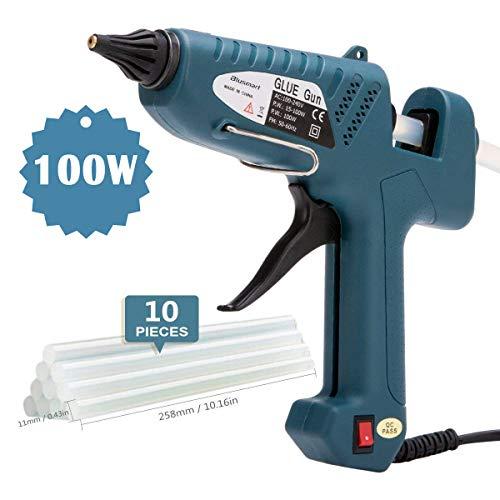 Heißklebepistole, Blusmart 100 Watt Klebepistole mit 10PCS transparente Klebestifte/Heißklebestifte für kleine DIY-Bastelarbeiten, Dichtung und schnelle Reparaturen