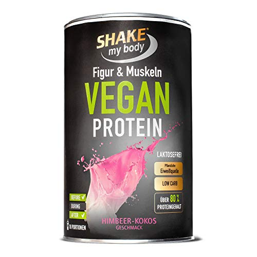 SHAKE my body Vegan Protein (Himbeer-Kokos), 84% Eiweiß, laktosefrei, Low Carb, frei von Aspartam, Verdickungs- und Konservierungsmittel, Qualitätsprodukt aus Deutschland