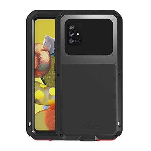 qichenlu [Panzer Rüstung Schwarz Alu Hybrid Silikon Metall Gehäuse für A51 5G,Integriertes Bildschirm Schutz Glas Bruchsicher Outdoor Hülle Ganzkörper Stoßfeste Hülle für Samsung Galaxy A51 5G