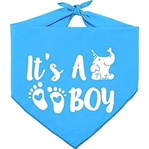 Pawskido It's A Boy Gender Reveal Dog Bandana,Reversible Triangle Bibs Pregnancy Announcement Pet Scarf
