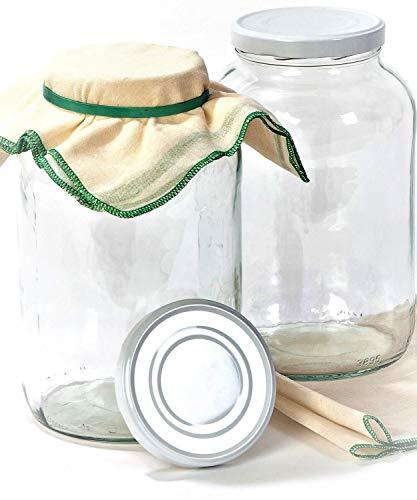 myFERMENTS Tarros Grandes de Cristal con Tapa - Botes de Boca Ancha de 4,25l - con 2 Muselinas de Algodón (50 * 50cm) y 2 Gomas. Kombucha, Kefir y Leches Vegetales Fermentadas -Pack de 2