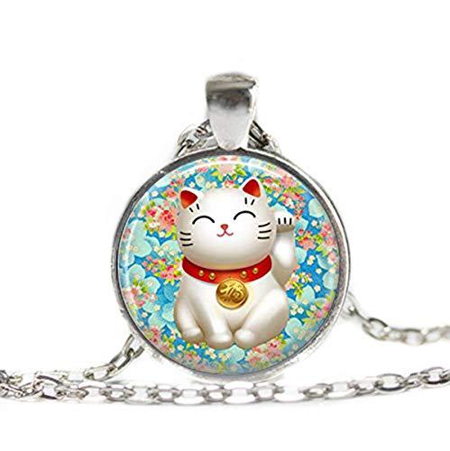 Flower world - Collar de gato de la suerte, con encanto de buena suerte, maneki Neko rosa y azul japonés, adornos de cristal cúpula, regalo para ella