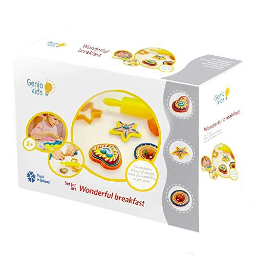 GenioKids Plätzchen 8 Stück/ 400g mit 6 Zubehör Dough Knete Set für Kinder