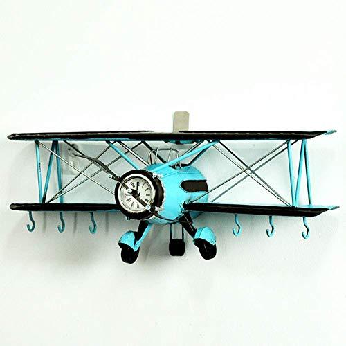GaoF Artesanía de Aviones Vintage, Modelos de Aviones de avión biplano de Metal con Ganchos, la Mejor opción para Accesorios de Fotos, Escultura de Pared, decoración del hogar, Adorno, Memoria,
