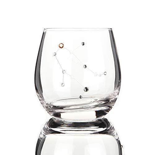 Zodiac - Copas de vino con diseño de signo del zodiaco con piedra de nacimiento, regalos de constelación de 11 onzas