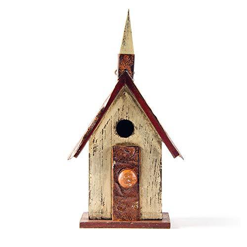 "Glitzhome 13.9"" H Hanging Distressed Wooden Garden Church Birdhouse"