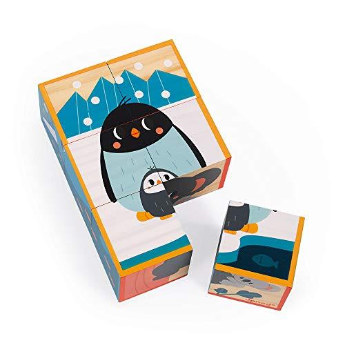 Janod Rompecabezas Infantil de Cubos de Madera Animales - Juguete de estímulo para bebés - Desarrolla la observación y la coordinación - Colaboración con WWF - � -