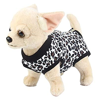 Due Felice Dog Professional Surgical Recovery Suit for Abdominal Wounds Skin Diseases, After Surgery Wear, E-Collar Alternative for Dogs, Home Indoor Pets Clothing Leopard Print/S