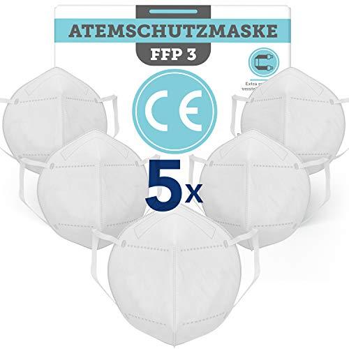 BEMS MEISTERWERK FFP3Maske(5 STK.)EUCE zertifiziert (EN149:2001+A1:2009) – PremiumAtemschutzmaskeohne Ventil für maximale Sicherheit –Mundschutz