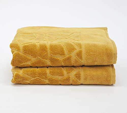 my cocooning Badematten Set Stones 2-teilig Senf | hochwertig & exklusiv | Badvorleger aus 100% Baumwolle | Badteppich (50x70 cm)