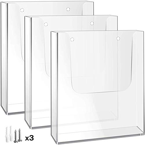 MaxGear Brochure Holder 8.5 x 11 inches Wall Mounted Literature Holders Clear Flyer Holder Acrylic Hanging Wall Brochure Holders, 3 Pack, Clear