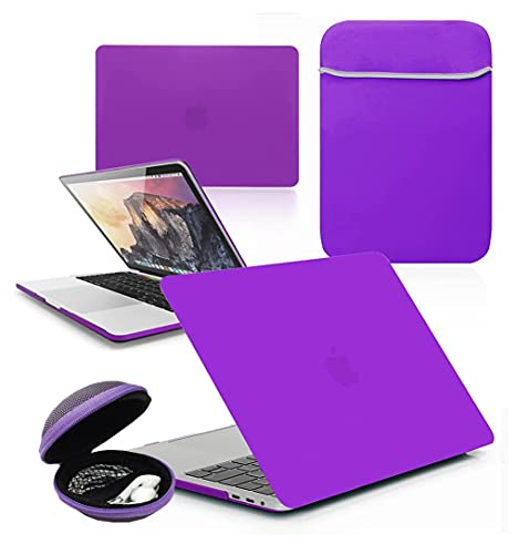 GUPi BUNDLE - Rubberized HARD SHELL Case with Matching NEOPRENE SLEEVE & Clamshell MP3 / EARPHONE CASE for Apple MacBook Pro [13-inch Pro A1708 (Retina Display) - 2016-2017], [DEEP PURPLE]