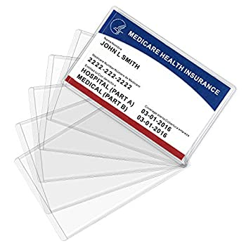 MaxGear New Medicare Card Holder Protector Sleeves 12 Mil Clear PVC Water Resistant Medicare Card Protectors Sleeves for New Medicare Card Business Cards Social Security Card Protector 6 Pack
