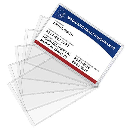 MaxGear New Medicare Card Holder Protector Sleeves 6 Pack, 12 Mil Clear PVC Water Resistant Medicare Card Protectors Sleeves for New Medicare Card, Business Cards, Social Security Card Protector