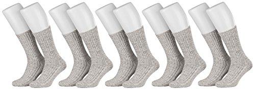 Tobeni 5 Paar Herrensocken Norwegersocken Arbeitssocken Winter Socken Wolle mit Frotteesohle ohne Gummi Farbe Grau Grösse 43-46