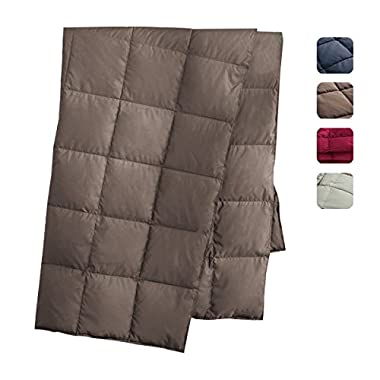 puredown All Season Goose Down Windproof Sport Blanket with DownProof Peach Skin Fabric Packable Throw Navy 50  x 70