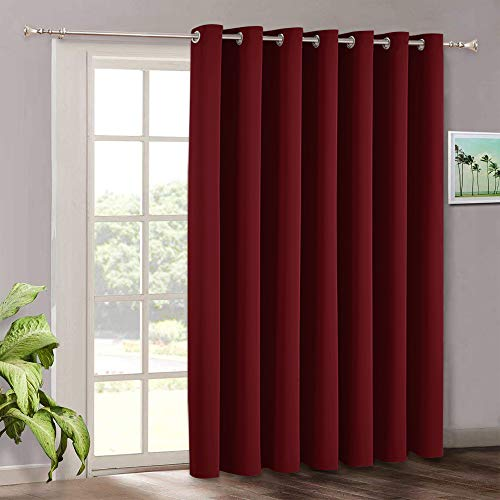 RYB HOME Vertical Blinds for Bedroom Window Curtains - Patio Sliding Door Curtains for Living Room Balcony Room Darkening Curtains Extra Wide Panel, 100 x 84, Burgundy Red