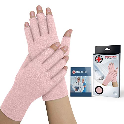 Von Ärzten Entwickelte Arthritis Kompressions-Handschuhe für Damen und von Ärzten verfasstes Handbuch (Rosa, S)