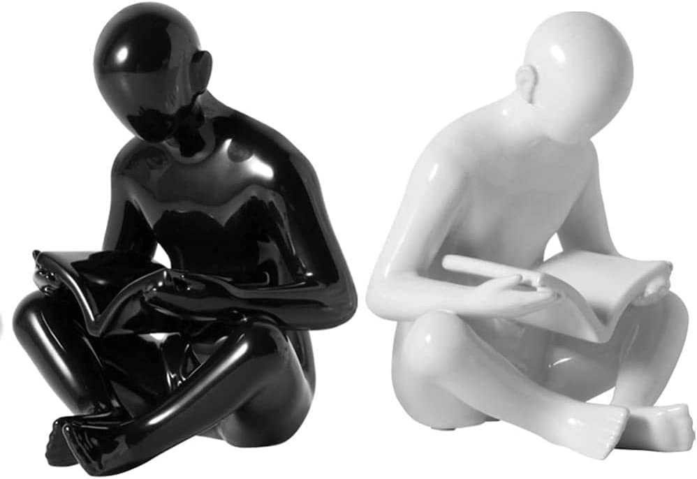 exari Special sale item Book Ends Nordic Creative and Black 2021new shipping free Figurines Whi Bookends