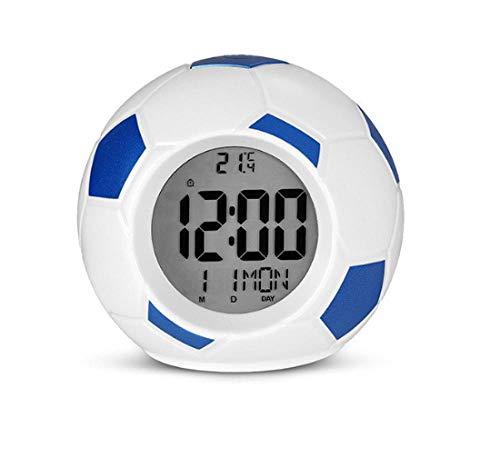 YSSYSS fútbol LED noche luz despertador lámpara digital fútbol mesa lámparas temperatura fecha hora mesa decoración dormitorio