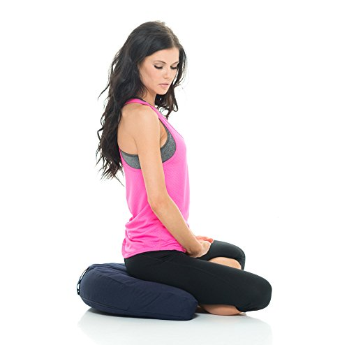 Awaken Meditation - Crescent Cushion | Yoga Bolster - Washable 100% Natural Cotton Filled with Buckwheat (Blue)