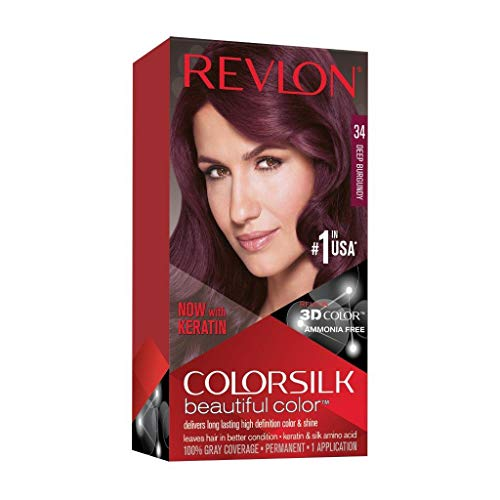 Revlon Colorsilk Beautiful Color, Permanent Hair Dye with Keratin, 100% Gray Coverage, Ammonia Free, 34 Deep Burgundy