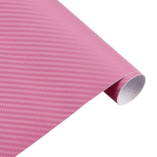 QiuKui 30cmx127cm Car Styling-Zubehör 3D-Carbon-Faser-Vinylauto-Verpackungs-Blatt-Rolle Film-Auto-Aufkleber und Abziehbilder Motorrad Automobil (Color Name : Pink)