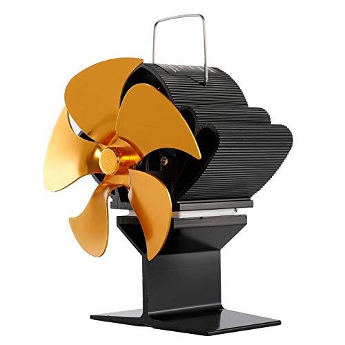 WANGLXST 5-Blatt-Ofenventilator, Geräuschloser Betrieb, Wärmebetriebener Ventilator Für Holzbrenner Oder Kamin, Energiesparend, Gold