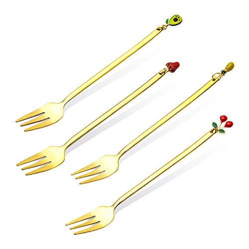 Sophie & Panda - Juego de 4 tenedores para aperitivos o tenedores de cóctel de mango largo, mango dorado y extremo de fruta, 13,5 x 2,3 cm
