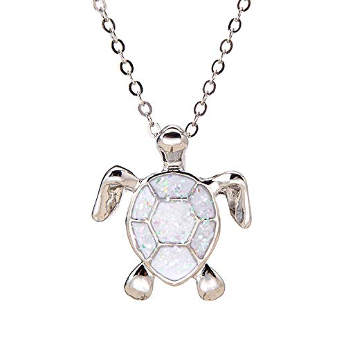 Sea Turtle Pendant Necklace for Women Men Girls Boys, Silver Plated Link Chain Animal Jewlery (White)