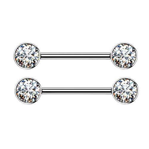 14G Implant Grade Titanium Internally Threaded Bezel Set Crystal Nipple Barbells  Sold as a Pair (Clear)