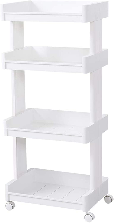 Bathroom Shelf Plastic Floor-Mounted Bathroom Toilet Storage Rackit can Move Bathroom Shelving Multi-Layer Kitchen Storage Shelf Floor 3 Roscloud@ (color   Normal Version, Size   4-Tier)