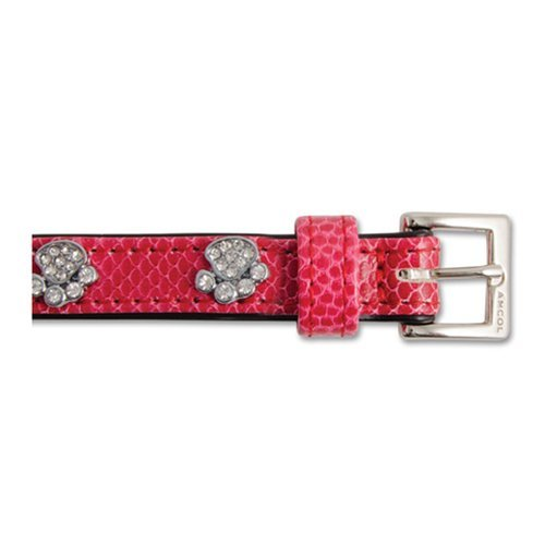Ancol Collier pour Chien Cuir Imitation Croco/Strass Pattes